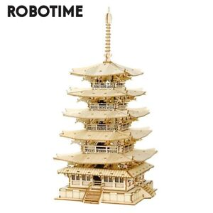 Rolife 275pcs DIY 3D Five-storied Pagoda Wooden Puzzle Game Assembly Toy For Kid
