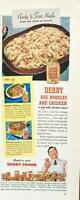 1946 Derby Ready to Serve Foods Print Ad Egg Noodles and Chicken in a Jar