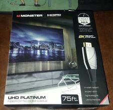 MONSTER CABLE FIBER OPTIC HDMI 4K 8K UHD PLATINUM 75 FT. FEET 48 MBPS @ 120 FPS