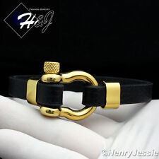 "8""MEN WOMEN Stainless Steel 10mm Silver/Black/Gold Horseshoe Leather Bracelet*84"