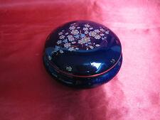 Bonbonnière boite bijoux ronde porcelaine LIMOGES bleu four fleurettes dorées
