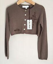 Tartine et Chocolat Brown Beaded Girls Dress Cropped Cardigan 5-6 Years BNWT