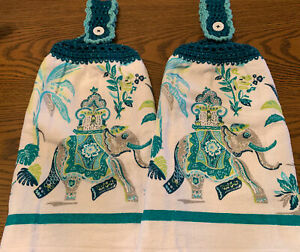 2 Double Sided Crocheted Top Fancy Elephant Teal White Dish Hanging Towels