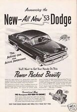 1952 VINTAGE AD '53 Dodge 140hp  Power Packed Beauty