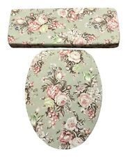 Rust Rose Green Ralph Lauren Charlotte Floral Bathroom Toilet Seat Lid Cover Set