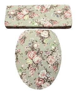 Rust Rose Green Ralph Lauren Charlotte Floral Bathroom Toilet Seat Lid Cover Set