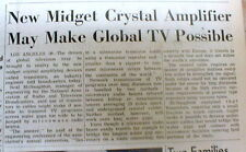1953 newspaper announces INVENTION of the TRANSISTOR RADIO & TELEVISION concept