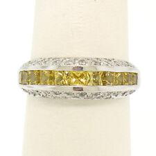 18k White Gold 1.40ctw Square Yellow Sapphire & Diamond Wedding Ring Band Sz 6.5