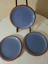 "Lot Of (3) Denby Langley England Salad plates Juice Berry  Blue  Terra Cotta ""9"
