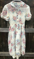 TRUE VINTAGE 1950'S SHIRTWAIST DRESS, Short Sleeves, Floral Size Small  FLAW