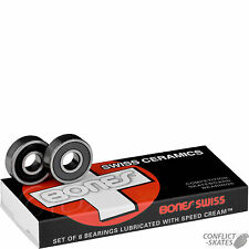 "BONES ""Swiss Ceramic"" Skateboard Bearings Longboard Race x8 608 8mm Precision"