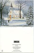 CHRISTMAS WHITE CHURCH GOLDEN WINDOWS PINE TREES 1 SHRIMP COCONUT RECIPE CARD