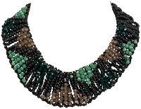 Collier Kette Halskette Statement  necklace Kristall Handarbeit schwarz grün