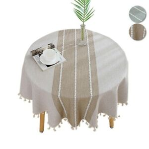 Stripe Round Tablecloth Tassel Dining Table Cover Cloth Cotton Table Linen