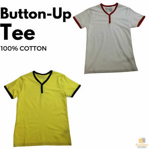 100% COTTON T-SHIRT Slim-Fit Plain Casual Contrast Tee Henley Pullover Shirt