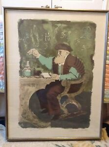 The Apothecary Color Lithograph 1965 By William A. Smith Original Frame Signed