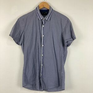 Saba Mens Button Up Shirt Small Blue Check Short Sleeve Slim Fit