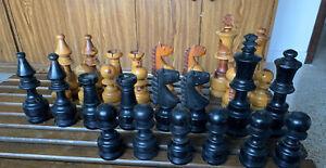"Vintage Giant Mexican Staunton Chess Set 8"" King 4"" Pawn 2 Pieces Missing w Box"