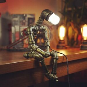 Bronze Vintage Industrial E27 Retro Pipe Lamp Steampunk Robot Table Lamp Art