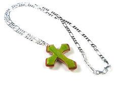 RECYCLED SKATEBOARD Wooden Handmade Cross Necklace Crucifix Jesus Christ Love