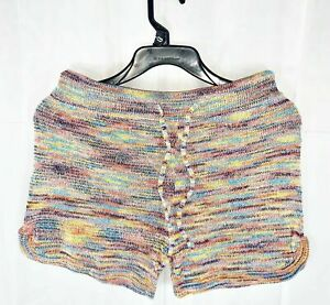 Turning Point Multi-Colored Knitted Drawstring Shorts, Small