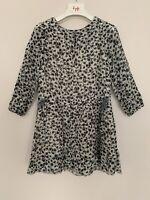 Girls Zara Age 4 - 5 Years Dress Grey Floral Pattern Round Neck Long Sleeve