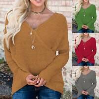 Women's Top V Neck Wrap Sweater Long Sleeve Knit Pullover Jumper Baggy Knitwear