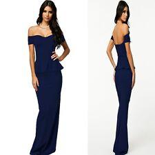 Sz 14 16 Off Shoulder Peplum Blue Sexy Formal Cocktail Party Evening Long Dress