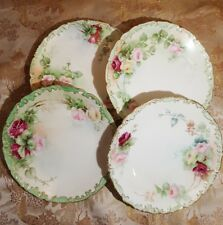 ANTIQUE SET 4 HAND PAINTED FLOWERS T&V LIMOGES FRANCE DEPOSE PLATES Nov 24 1900