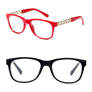 Fashion Reading Glasses Chain Link Temple Style Red Black Brown