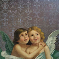 "perfect  30x30 oil painting handpainted on canvas ""Two little angels""1467"
