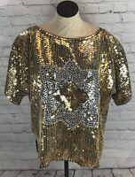 Vintage Gold Sequined Top Cotton Castle Size 24 Pure Silk Cocktail Party Dressy