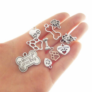 10 pcs Assorted Vintage Silver Alloy Dog Bones Hearts Charms Pendants Crafts