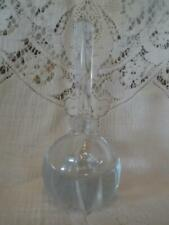 Vintage Crystal Cut Frosted Glass Vanity Ball Perfume Bottle /Tall Prism Stopper