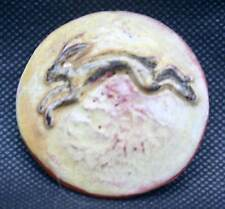 Studio Art Pottery Leaping Hare Pin Badge Signed by Sculptor Potter Brian Andrew