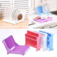 Set of 2 Folding Plastic Kitchen Dish Rack Stand Plate Holder