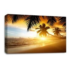 Large Sunset Tropical Island Sand Palm Tree Canvas Wall Art Picture Print SET 1