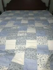 """Simply Shabby Chic Blue White Patchwork King Quilt & Matching Sham  """"NWT"""""""