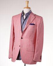 NWT $8495 KITON Gingham Check Cashmere-Linen-Silk-Vicuna Sport Coat 42 R (Eu 52)