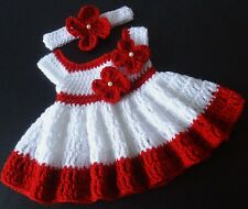 SALE! Crochet Dress Red and White Baby Girl 0-3 Months Infant Baby  Headband