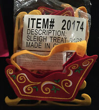 Sleigh Treat Bags Set Of 6 Six Felt Red And Gold