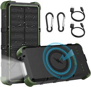 OUTXE Wireless Solar Powerbank 25000mAh Ladegerät IP67 Wasserdicht Quick Charge