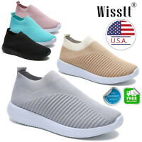 Women's Air Cushion Sneakers Breathable Mesh Walking Slip-On Running Shoes C91