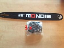 "Brand New 20"" MONDIS Chainsaw Bar & 3 x Chains"