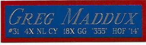 GREG MADDUX CUBS NAMEPLATE AUTOGRAPHED Signed BASEBALL-JERSEY-HELMET-PHOTO-CAP