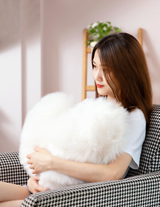 Big Fluffy Heart Shaped Soft Pillow with Insert for Valentines, Home Decoration
