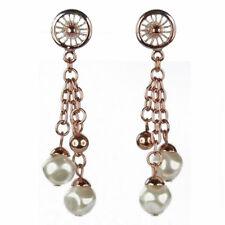 Boucles d'oreilles plaqué or rose gold rouge rouage perles nacrées blanches