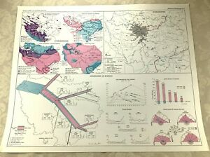1967 Map of Paris Hydrography River Seine Water Table Basin Route Geography