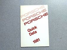 NOS ORIGINAL GENUINE PORSCHE 911SC 928 924 TURBO QUICK DATA FACT BOOK 1981