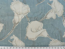 Drapery Upholstery Fabric 100% Cotton Duck Abstract Calla Lily - Blue-Gray
